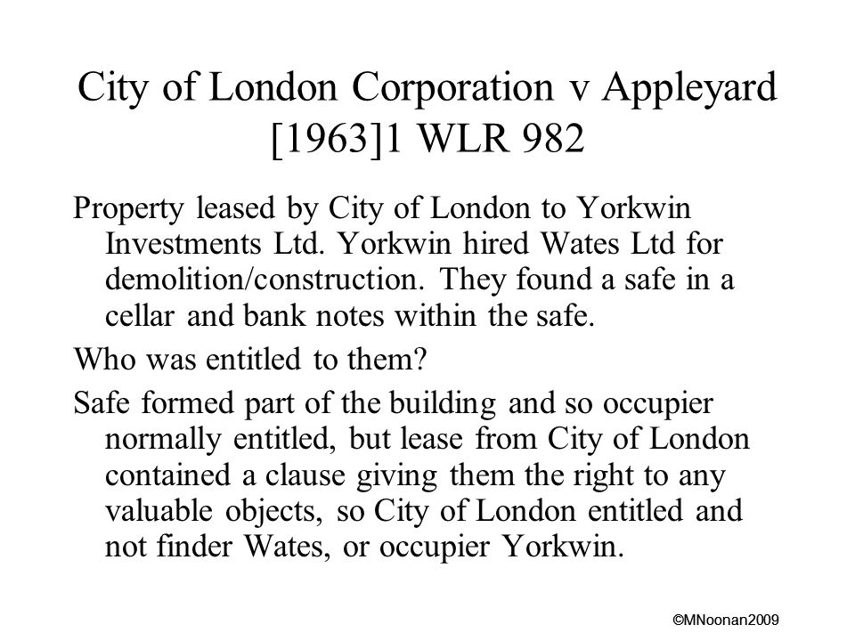 City of London Corporation v Appleyard [1963]1 WLR 982